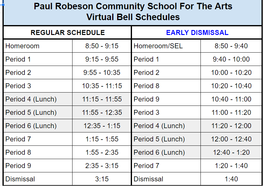 virtual bell schedule 2020-2021