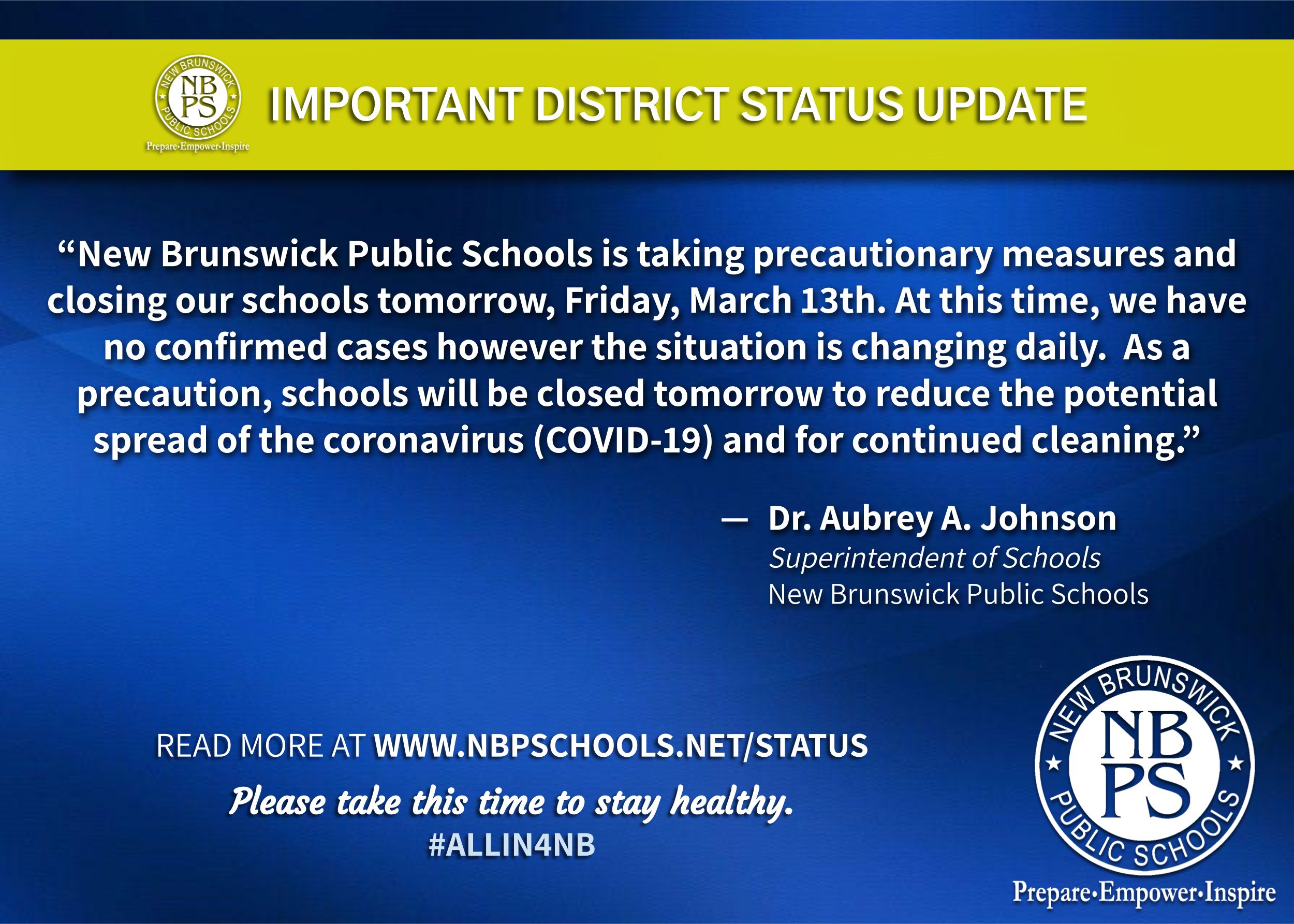 Message from the Superintendent of Schools